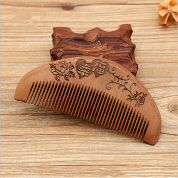 1 Pc Natural Peach Small Wood Comb Portable Close Teeth Anti-static Head Massage Hair Care Wooden Tools Beauty Hair Accessories