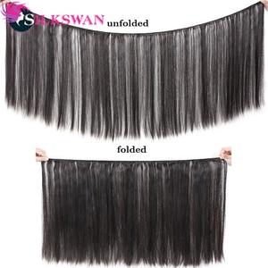 Image 5 - Silkswan extensiones de cabello humano liso con Frontal, 13x4, encaje marrón, Frontal, brasileño, Remy