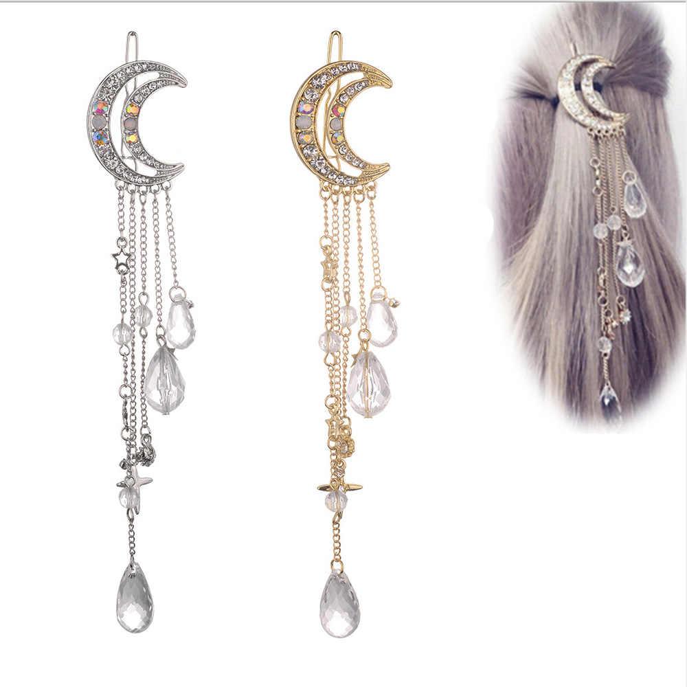 ผู้หญิง Hairpin Moon คริสตัล Rhinestone คริสตัลยาวโซ่ลูกปัด Pins จี้ Hairclip สุภาพสตรีเครื่องประดับ Dangle คลิปผม