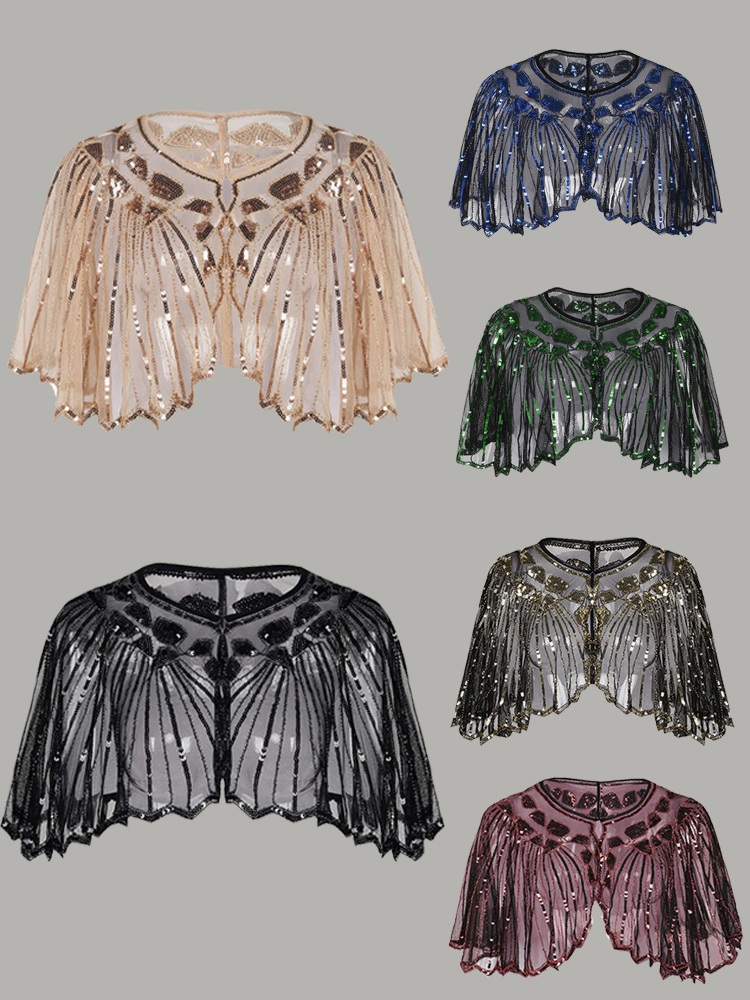 Dress-Accessory Shawl Short-Cape Cover-Up Sequin Gatsby Vintage Beaded-Decoration Mesh