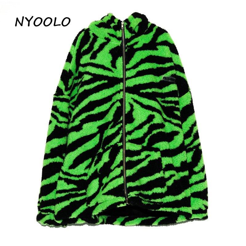 H620d2c4a33c145759e5c6c530a50c844B NYOOLO 2020 Winter Streetwear Zebra Pattern Lamb Woolen Thicken Warm Zipper Hooded Padded Coats Women Men Harajuku Loose Outwear