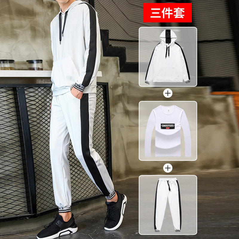 2019 New Style Hooded Pullover Three-piece Set Hoodie Suit Men Spring And Autumn Trend Students Sports Clothing