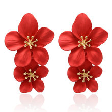 Korean New Red Dangle Drop Earrings Statement Double Layer Flower Earrings for Women Fashion Jewelry Brincos Aretes De Mujer(China)