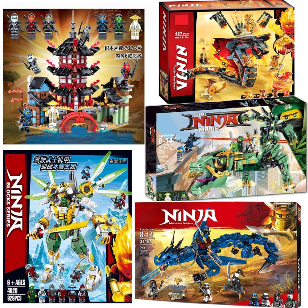 For Legoelys Ninja Flying Stormbringer Green Ninjagoinges Mecha Dragon Temple Of Airjitzu Lloyd Kai Building Blocks Bricks Toys