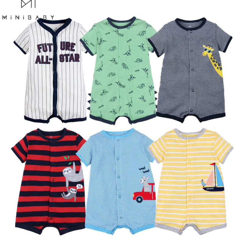 Brand Summer 2020 baby boys clothes cotton Jumpsuit Short sleeve Roupas Menino for Baby Boy Body overalls , 0-24M baby rompers(China)