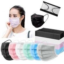 Masque facial jetable industriel à 3 plis avec boucles auriculaires pour adulte, 10/20/50/100 pièces, noir et bleu, masques buccaux réglables