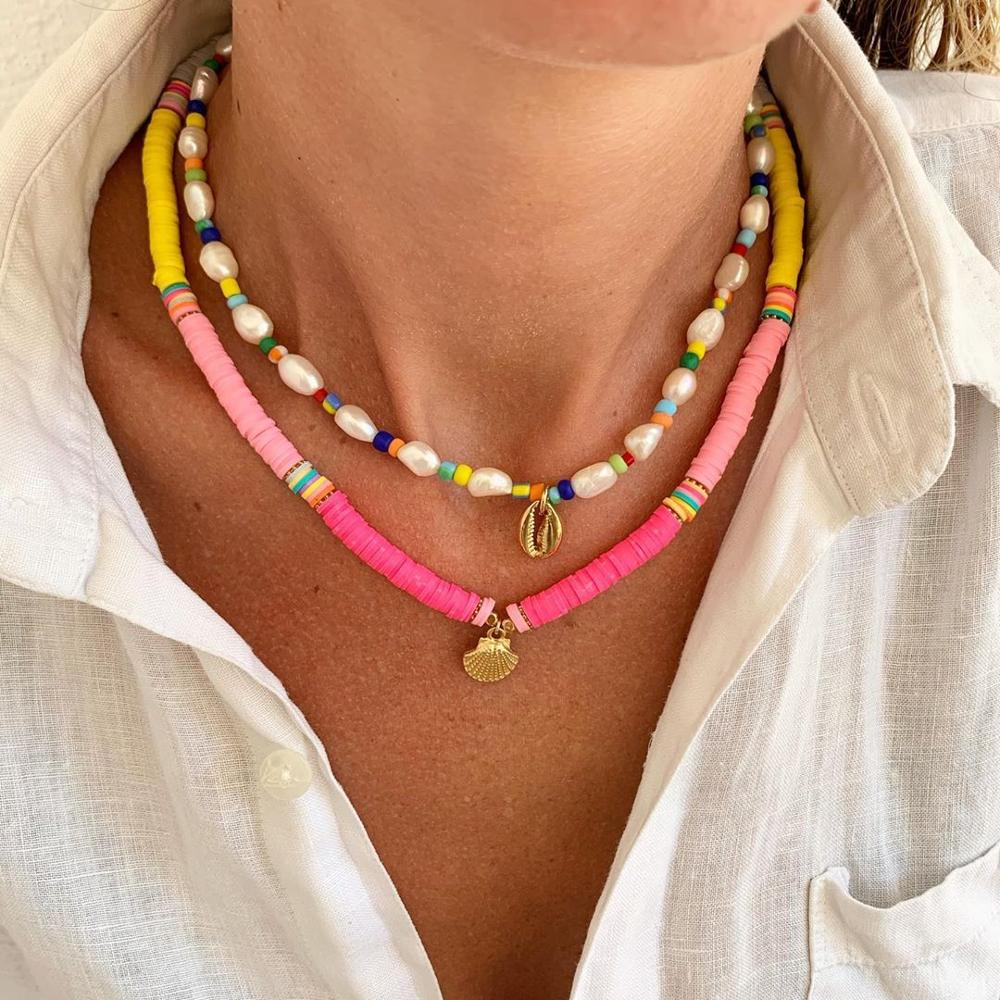 Dvacaman-Boho-colorido-2-unids-set-cuentas-collar-de-cadena-de-moderno-tnico-Multi-capa-collar