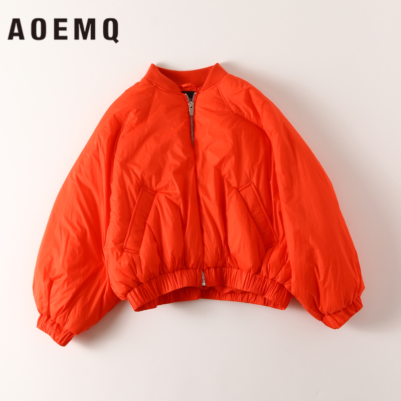 AOEMQ Causal   Parkas   2 Solid Colors Standing Collar Winter Thick   Parkas   with Zipper Breasted Outwear   Parkas   Women Clothing