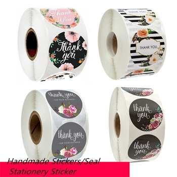 500 Labels//roll Thank You Sticker Seal Labes Flower Stationery Stickers Decor M