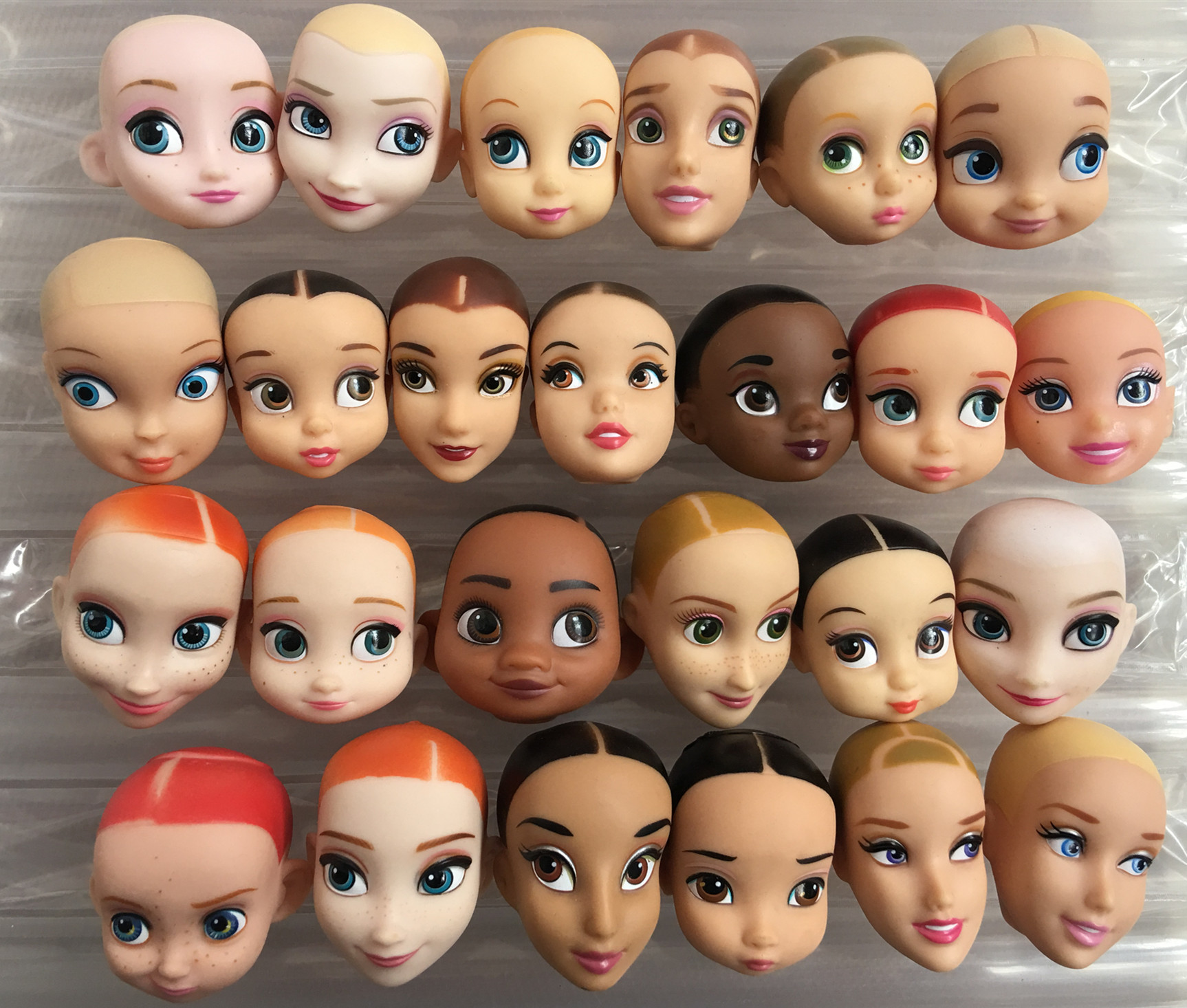 Doll Toy Bald Head No Hair Princess Heads Mermaid Elsa Baby Doll Cute Smiles Doll Heads DIY Plants Hair Head Girls Doll Heads