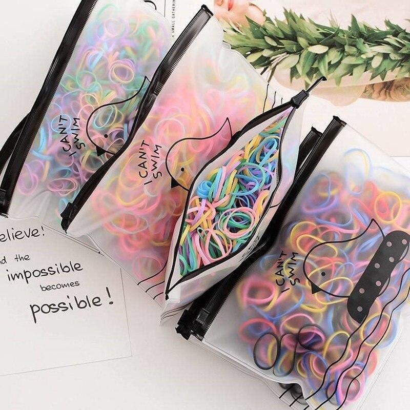2000/500PCS/Lot Girl Hair Bands Children Color Gum For Hair Turban Elastic Scrunchie Pack Transparent Hair Ties Hair Accessories