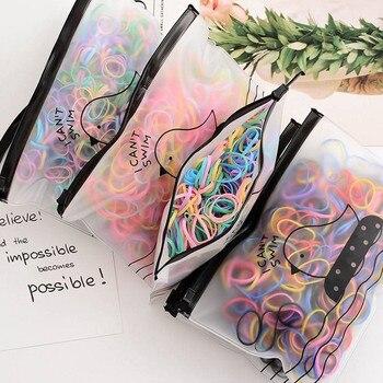2000PCS/Lot girls hair bands Children Color gum for headband Elastic scrunchies scrunchy transparent hair ties hair accessories