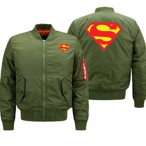 Image 4 - הגעה חדשה 2019 חורף מעילי Mens בייסבול אחיד סופרמן באיכות מזדמן גברים מפציץ מעיל מכירה לוהטת טייס מעיל מותג בגדים