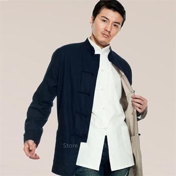 Strój Tang Cotton Linen Vintage odzież dwustronna Top tradycyjna chińska odzież dla mężczyzn koszule odzież Kung Fu Hanfu Party tanie i dobre opinie CN (pochodzenie) wyszywana Chinese Top Jacket