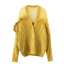 купить Autumn Winter Lace Cardigan Women Knitted Sweater Cardigan Female Elegant Jumper Coat Pull Femme Sueter Mujer Invierno 2019 онлайн