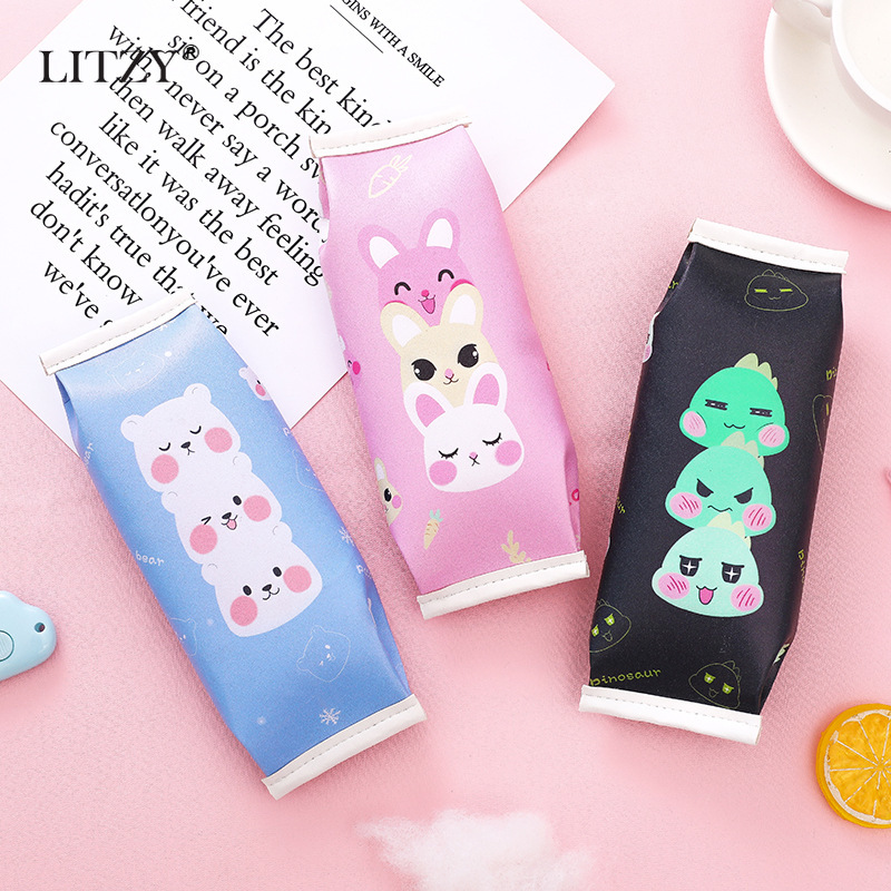 Cute Snacks Style Kawaii Biscuits PU Pencil Cases For Boy Girls Pen Box High Capacity Pencil Bag School Office Stationery Supply