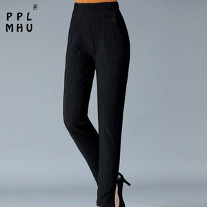Plus size mother's straight trousers Casual elastic high waist harem pants women Classical pants with stripes loose breathable