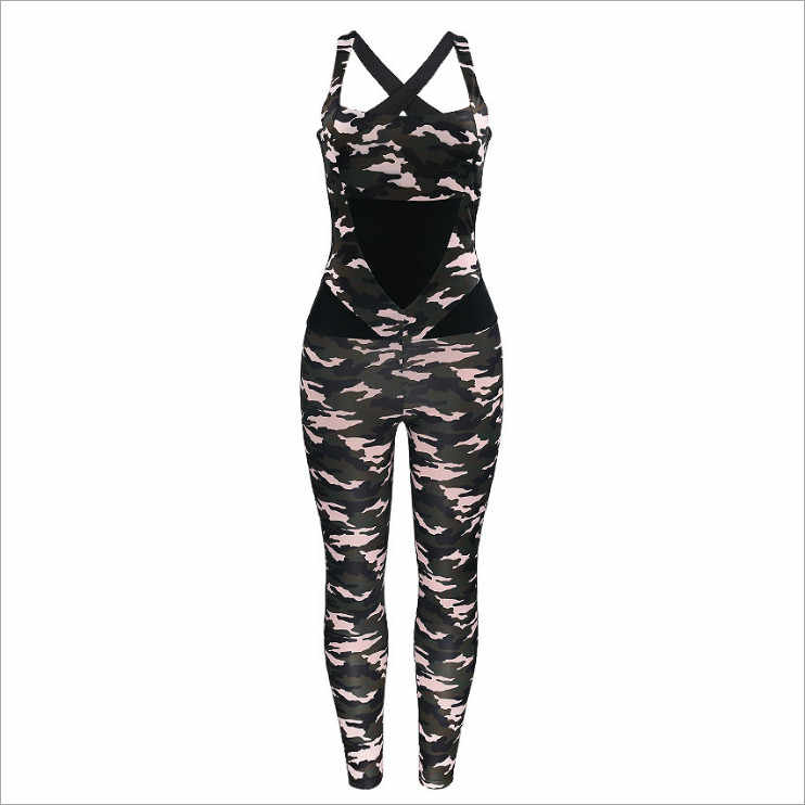 2019 New Arrival Summer Women Jumpsuits Vintage Backless Spaghetti Strap Sexy Club Jumpsuits Elegant Camouflage Jumpsuits HJ751