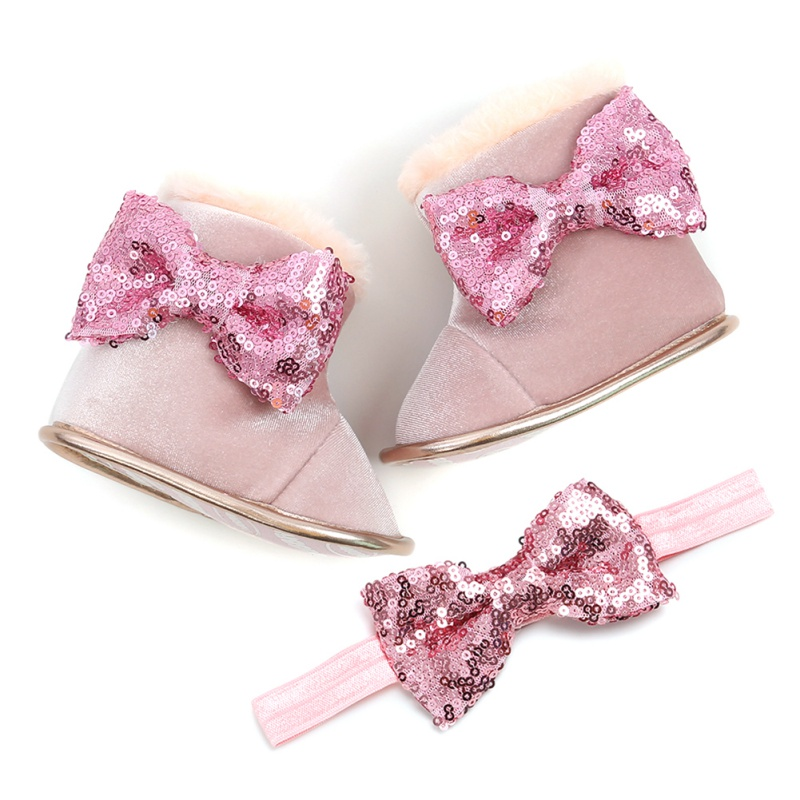 Newborn Baby Girl Shoes Set 0-18M Infants Sequin Bow Princess Boots Shoes Headwear Headband Photography Props Set
