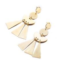 European and American new ear jewelry triangle metal disc fan tassel earrings for women 2019 real time limited aretes tassel earrings oorbellen european and american christmas jewelry lovely for apple long ear