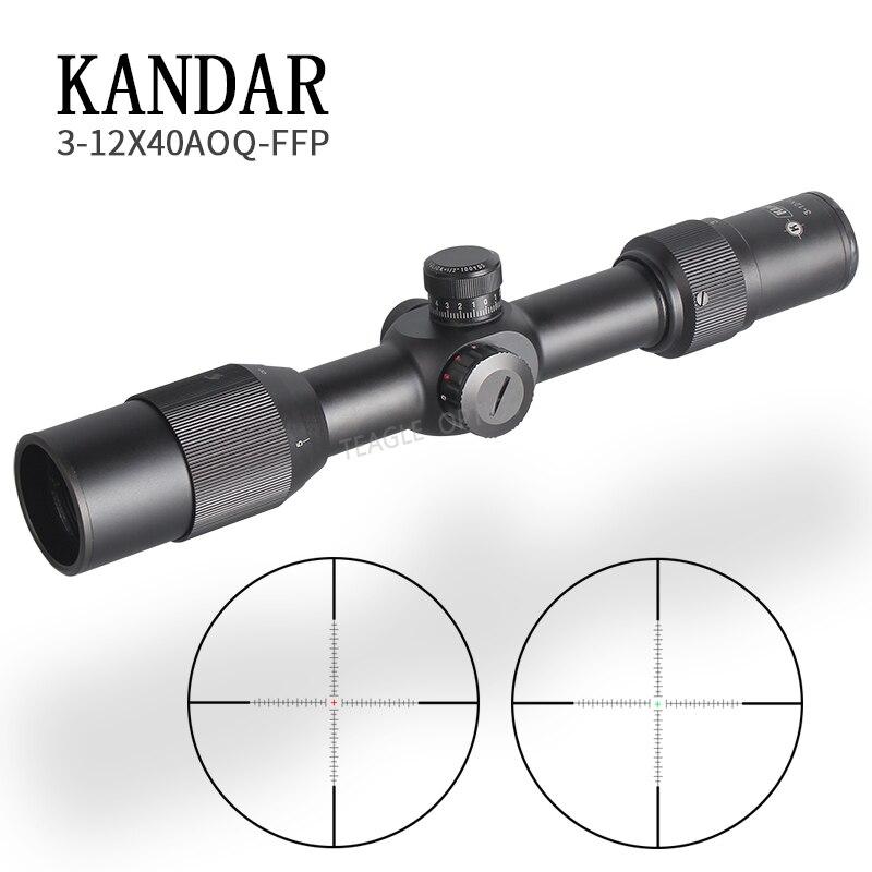 Caça 3-12X40 FFP Escopo Com Ponto Vermelho Primeiro Plano Focal Riflescope Optics Com 11 ou 20 MILÍMETROS Ferroviário Rifle Preto escopo