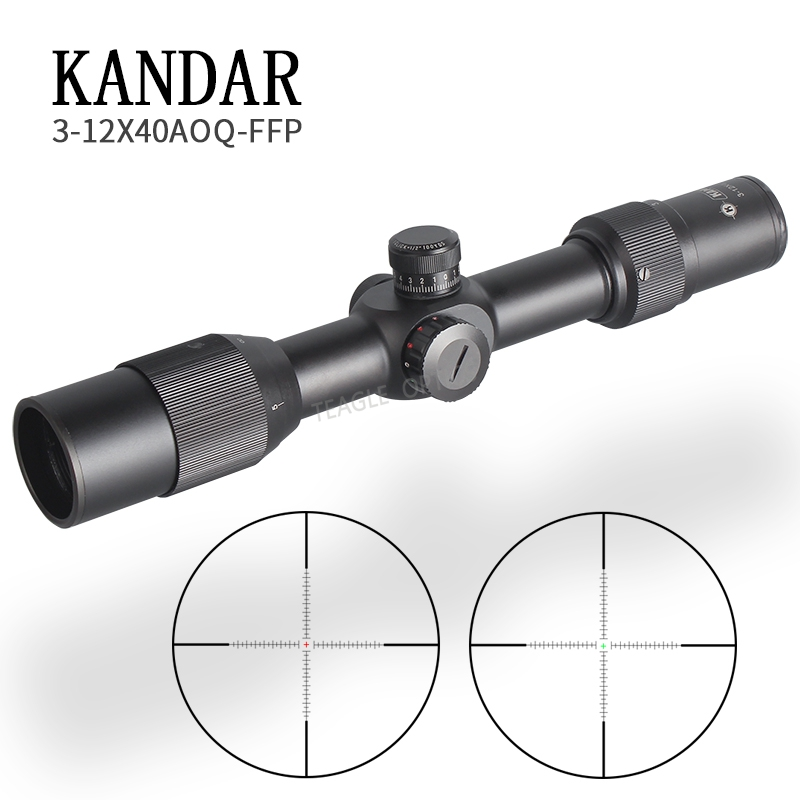 Hunting Riflescope 3-12X40 FFP Scope With Red Dot First Focal Plane Optics With 11 Or 20MM Rail Black Rifle Scope