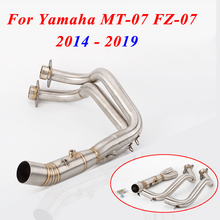 Motorcycle Exhaust Slip-On For Yamaha MT-07 MT07 2014 - 2019 2018 2017 2016 2015 FZ 07 Muffler Modified Front Pipe