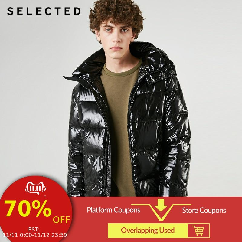 SELECTED Men's Glossy Short Down Jacket New Hooded Duck Down Coat Winter Casual Male Clothes C | 419112507