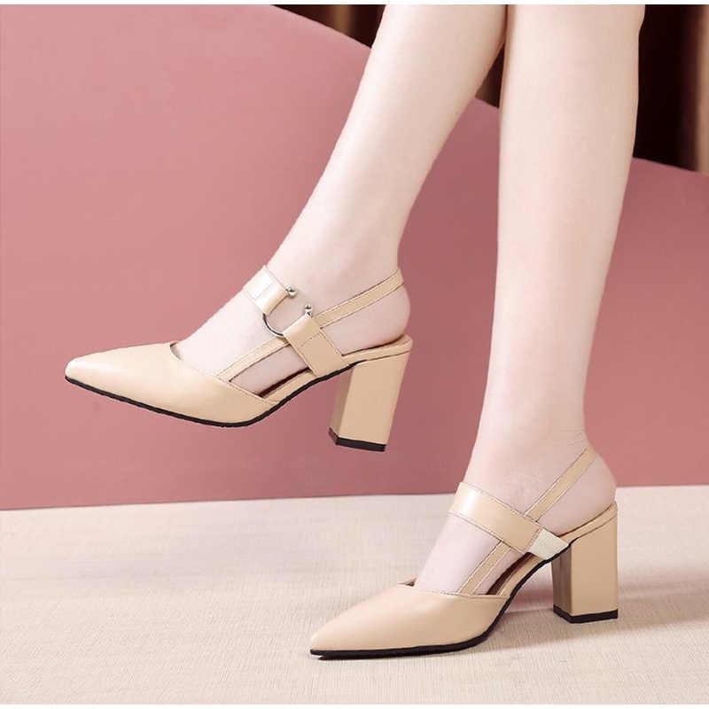 Kadın yaz sivri burun tıknaz yüksek topuklu toka sandalet kadın zarif Pu deri ayakkabı kadın rahat bayan sandalet moda