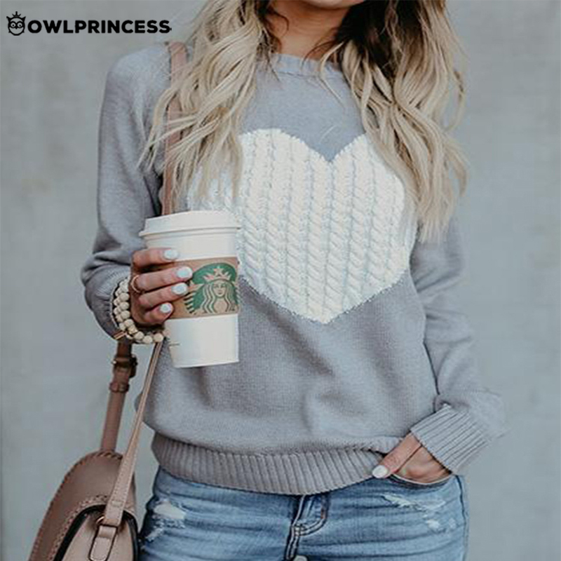 Daily suit OWLPRINCESS Fashionable Knitted Sweater Long Sleeve Heart Pattern Women's Sweaters Warm And Comfortable Pullover