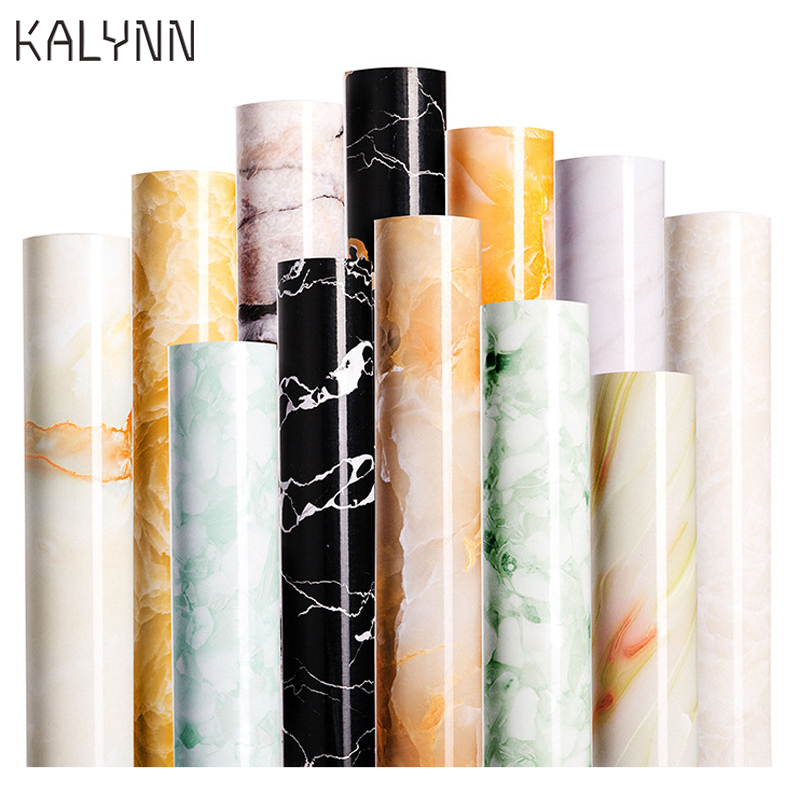 Marble Contact Paper Self Adhesive Brick Wallpaper Kitchen Countertop Bathroom PVC Thicken Waterproof Furniture DIY Stickers60CM