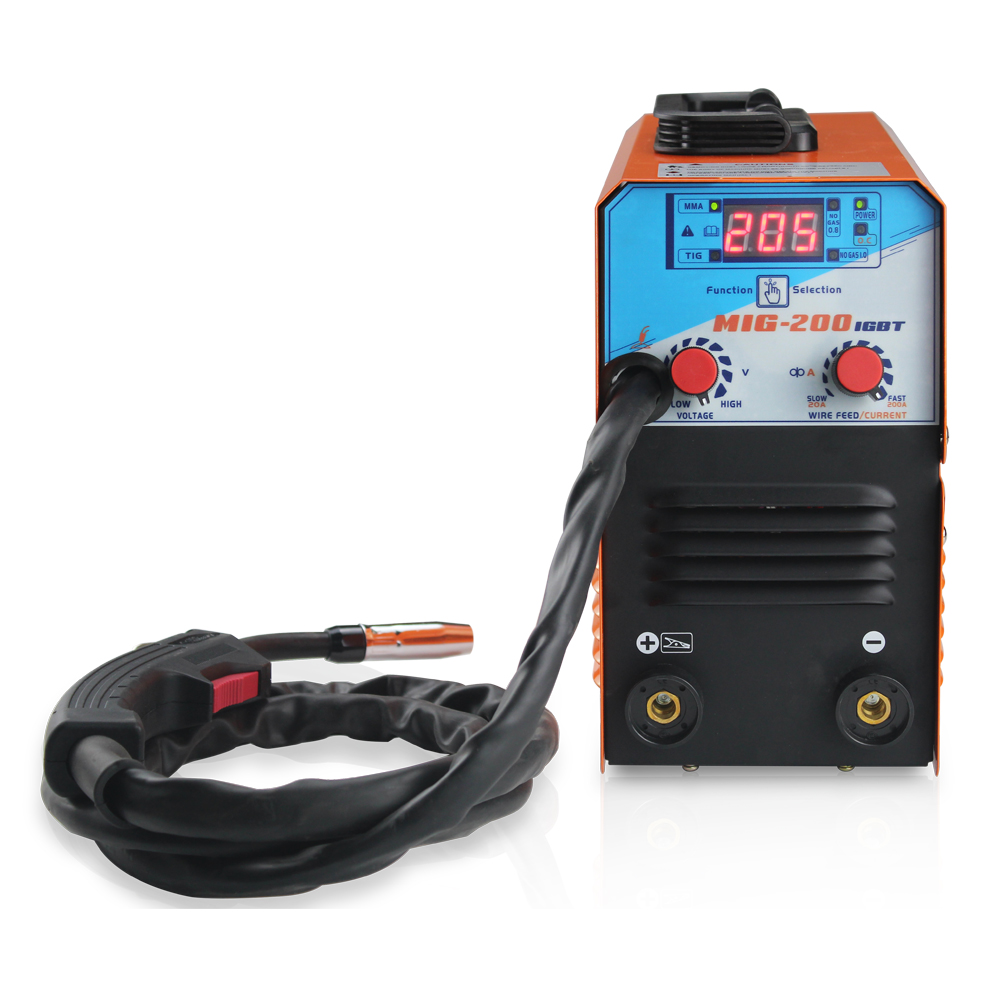 Tools : Mini MIG-200 AC220V IGBT MIG Welder MMA TIG 1 Phase Gasless Welding Machine Welding Equipment Soldering Tool