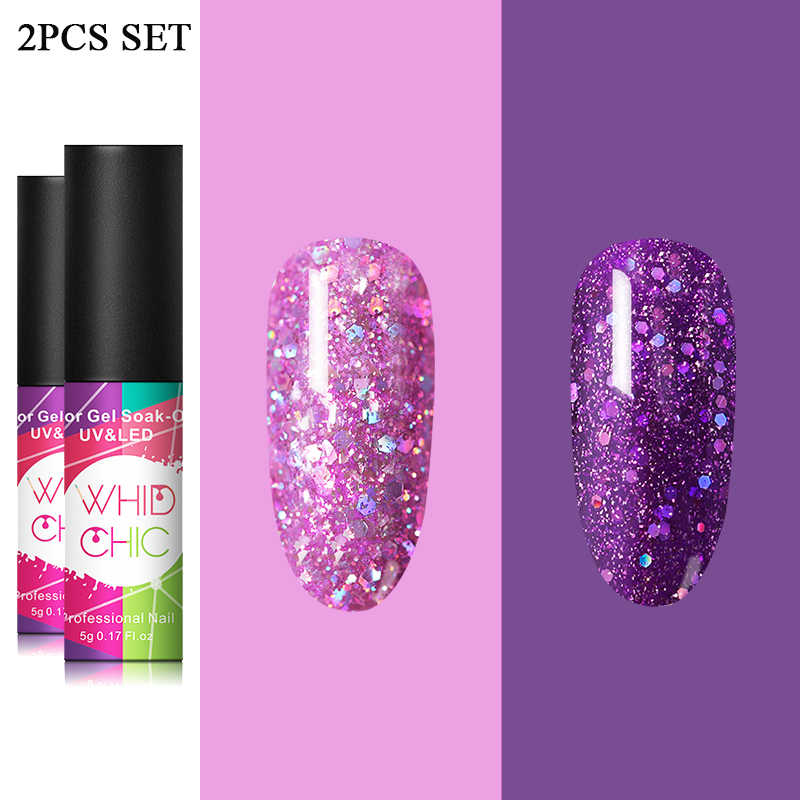 Whid Chic Uv Gel Nagellak Paarse Kleur Set Glitter Pailletten Losweken Uv Gel Lak Kleur Nail Gel Shiny diy Nail Art Varnish