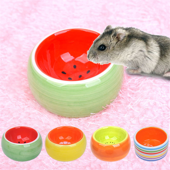 Ceramics Hamster Bowl Food Feeding Prevent Turning Over Drinking Water Round Porcelain Dish Rabbit Squirrel Feeder for Small Pet