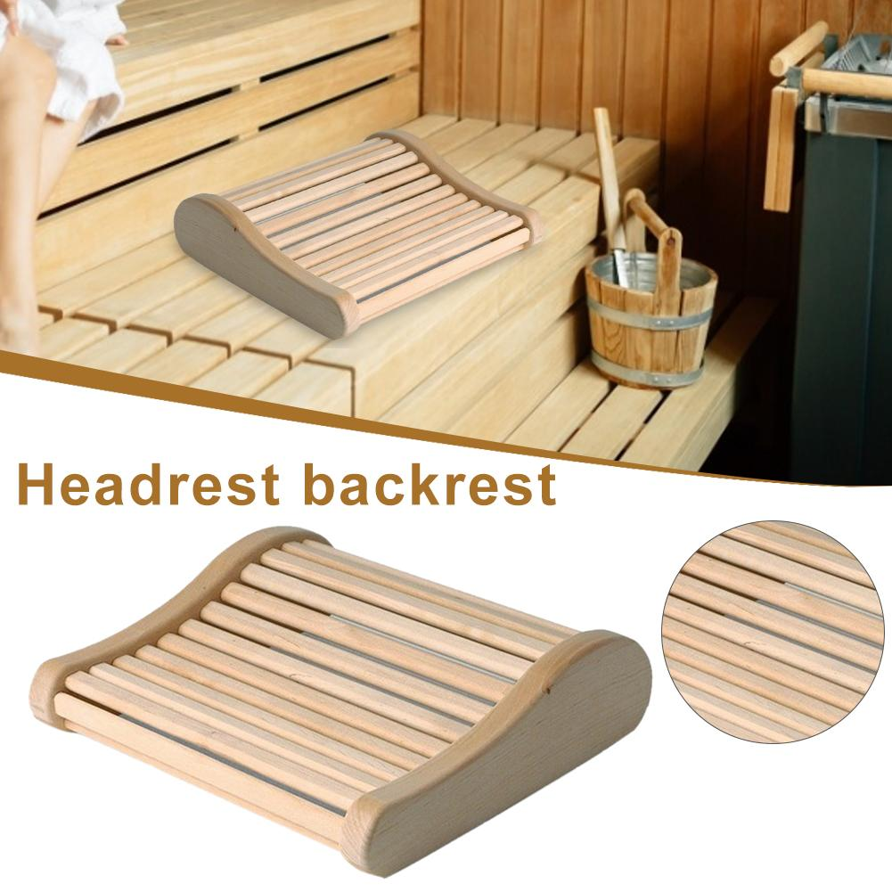 Wooden Scrapping Stick Massage Wooden Pillow Headrest Curved Cushion Sauna Durable For Bathroom Bedroom Nap Pillow Neck Support
