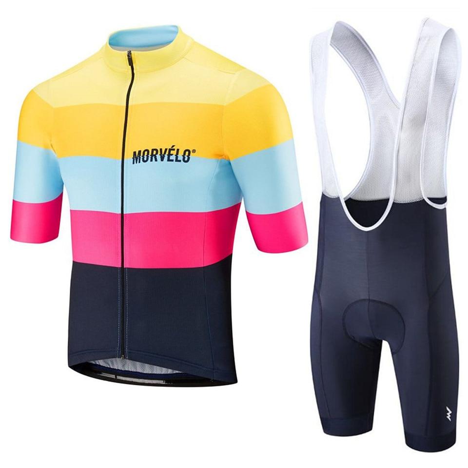 Summer Morvelo 2020 Men's Clothing Cycling Clothes Kits Short Sleeve MTB Breathable Bib Shorts Maillot Ciclismo Set 19D Gel Pad