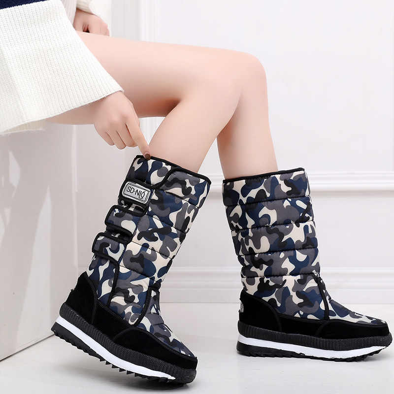 2019 New Mid-calf Boots Plush Warm Snow Boots Women Winter Boots Camouflage Women Boots Female Winter Shoes Platform Women Shoes