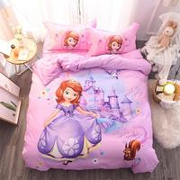 New Pink Sofia Princess bedding set twin size bed sheet duvet cover for girls room Queen bedspread coverlets 3d printed 3/4 pcs