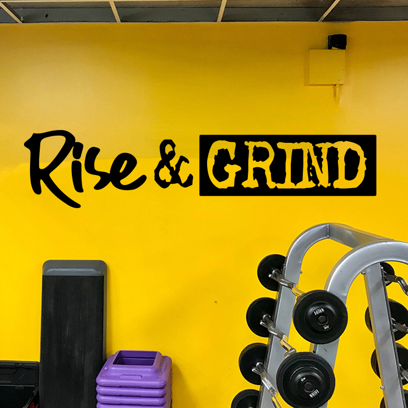Large Rise And Grind Quote Wall Sticker Office Gym Motivational Inspirational Quote Rise And Grind Wall Decal Kitchen Coffee Wall Stickers Aliexpress