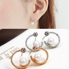 New Fashion Crystal Stud Earrings For Women Half Moon Shape Pearl Earrings Female Ladies Party Jewelry 2019 Gift Wholesale WD464 цена и фото