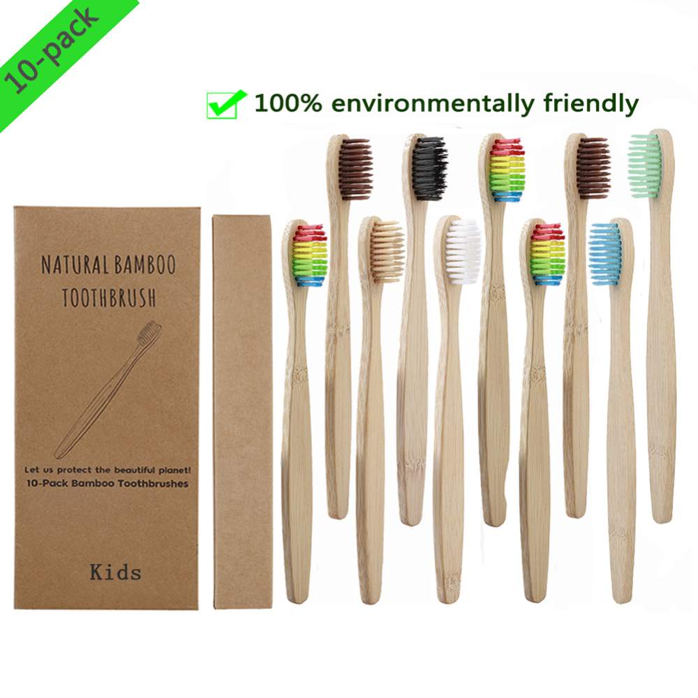 10pcs Soft Bristles Children Bamboo ToothBrush Toothbrushes Eco Friendly Oral Care Travel Tooth Brush For Kids Logo Customize