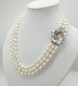 Image 2 - Классическое ожерелье! 3 ряда 7 8 мм жемчужное ожерелье из натурального зернистого белого риса, 18 22 дюйма