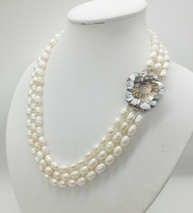 Image 2 - Classic necklace! 3 rows of 7 8MM natural white rice grain pearl pearl necklace, 18 22 inches