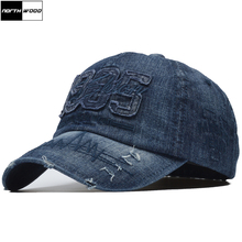 [NORTHWOOD] 100% Cotton Brand Men Women Baseball Cap High Quality Washed Fitted Denim 1985 Snapback Hats Outdoor Dad Hat