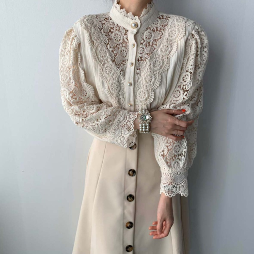 H620f0c59984c472e8a66fb30a6f4fd02y - Spring / Autumn Stand Collar Long Sleeves Hollow Out Lace Blouse