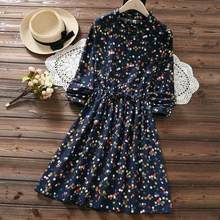 Japanese Mori Girl Autumn Winter Kawaii Dress Ruffled Collar Polka Dot Navy Blue Green Vestido Mujer Vintage Sweet Dress DC692(China)