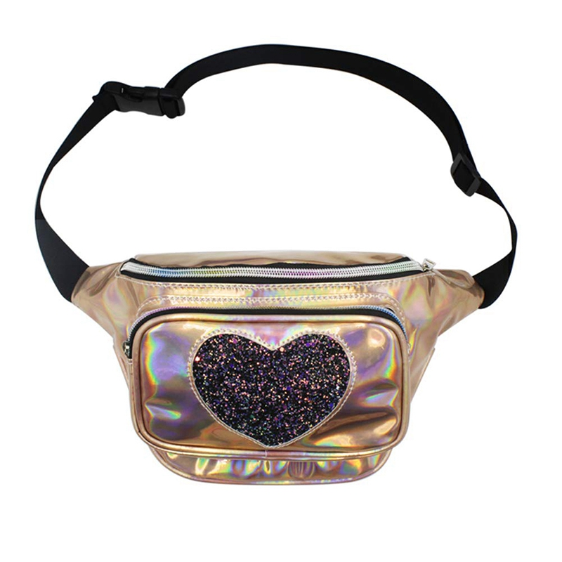 BEAU-Holographic Pack Cute Iridescent Waist Bag Heart Sequin Rainbow Bum Bag With Adjustable Belt For Party Festival Rave Trip