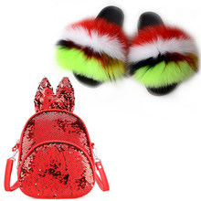 Baby Girls Slippers Fox Fur Slippers Cute Sequins Baby Shoulder Bag Fluffy Fur Slippers Backpack Plush Shoes Bags Set Sandals(China)