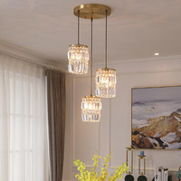 American Style Bedroom Bedside Copper Crystal Chandelier Creative Parlor Restaurant Bar Aisle Lamp Fixtures