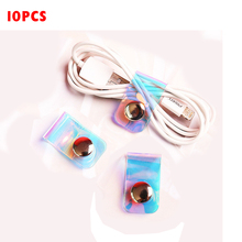 10pcs Laser Portable Data Cable Storage Buckle Personality Cable Tie Button Finishing Set Buckle Headphone Winder laser personalized cable tie with button finishing cable winder pvc transparent data line headphone cable winder cord organizer